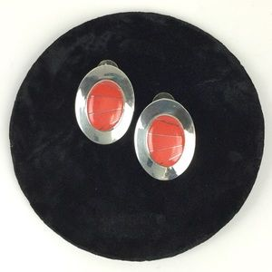 Vintage Large Coral Sterling Silver Earrings
